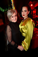 "HOLLYWOOD - FEBRUARY 20: Sharon Osbourne and Dita Von Teese attend Ozzy Osbourne global tattoo and album listening party to celebrate his new album ""Ordinary Man"" on February 20, 2020 in Hollywood, California. (Photo by Lionel Hahn/Epic Records/PictureGroup)"