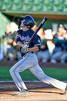 Max Brown (35) of the Missoula Osprey at bat against the Ogden Raptors in Pioneer League action at Lindquist Field on July 13, 2016 in Ogden, Utah. Ogden defeated Missoula 8-2. (Stephen Smith/Four Seam Images)
