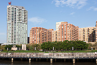 Part of the Hoboken, NJ waterfront redevelopment including the W Hotels W Hoboken and 333 River Street, a mixed-use residential/retail building, with Pier C Park in the foreground