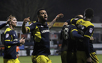Kane Hemmings of Oxford United celebrates after Marvin Johnson of Oxford United scores their third goal during the The Checkatrade Trophy Semi Final match between Luton Town and Oxford United at Kenilworth Road, Luton, England on 1 March 2017. Photo by Stewart  Wright  / PRiME Media Images.