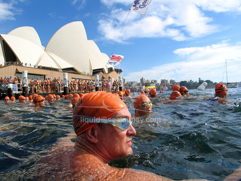 The Sydney Harbour Swim Classic provides an opportunity for the general public to compete in a community swim event on Sydney Harbour and is the only and unique community event for swimmers starting from the Man'O'War steps heading towards Fort Denison, around Farm Cove and returning to the western pontoon of the Man'O'War steps, exiting the water via a purpose built ramp alongside the Sydney Opera House..There are two races open to the public, the 1km Mini Swim Classic and the 2km Swim Classic..Swimming (aquatic locomotion) is biologically propelled motion through a liquid medium. Swimming has evolved a number of times in a range of organisms ranging from arthropods to fish to molluscs.