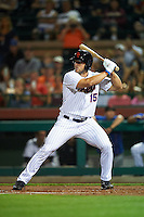 Scottsdale Scorpions left fielder Tim Tebow (15), of the New York Mets organization, at bat during a game against the Salt River Rafters on October 12, 2016 at Scottsdale Stadium in Scottsdale, Arizona.  Salt River defeated Scottsdale 6-4.  (Mike Janes/Four Seam Images)
