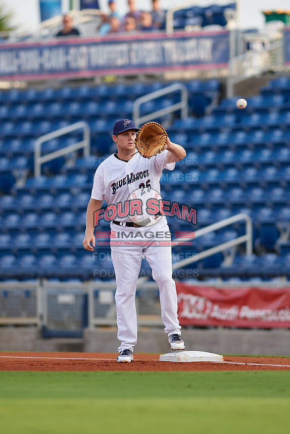 Pensacola Blue Wahoos Shrimp first baseman Gavin LaValley (25) waits to receive a throw during a game against the Jacksonville Jumbo on August 15, 2018 at Blue Wahoos Stadium in Pensacola, Florida.  Jacksonville defeated Pensacola 9-2.  (Mike Janes/Four Seam Images)