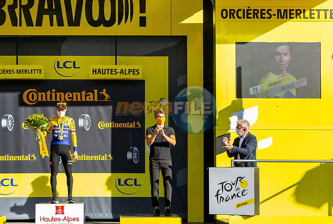 Primoz Roglic (SLO) Team Jumbo-Visma wins Stage 4 of Tour de France 2020, running 160.5km from Sisteron to Orcieres-Merlette, France. 1st September 2020.<br /> Picture: ASO/Herve Tarrieu | Cyclefile<br /> All photos usage must carry mandatory copyright credit (© Cyclefile | ASO/Herve Tarrieu)