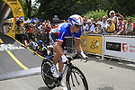 French National Champion Sylvain Chavanel (FRA) powers off the start ramp of the Prologue of the 99th edition of the Tour de France 2012, a 6.4km individual time trial starting in Parc d'Avroy, Liege, Belgium. 30th June 2012.<br /> (Photo by Eoin Clarke/NEWSFILE)