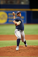 Francisco Sanchez (30) delivers a pitch during the Tampa Bay Rays Instructional League Intrasquad World Series game on October 3, 2018 at the Tropicana Field in St. Petersburg, Florida.  (Mike Janes/Four Seam Images)