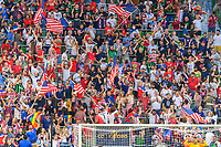 AUSTIN, TX - JULY 29: USA Supporters Group cheer after a United States goal late in the second half during a game between Qatar and USMNT at Q2 Stadium on July 29, 2021 in Austin, Texas.