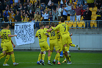 Wellington Phoenix celebrate Wellington's Clayton Lewis' goal during the A-League football match between Wellington Phoenix and Western United FC at Sky Stadium in Wellington, New Zealand on Saturday, 22 May 2021. Photo: Dave Lintott / lintottphoto.co.nz