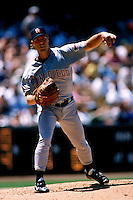 Mark Langston of the San Diego Padres participates in a Major League Baseball game at Dodger Stadium during the 1998 season in Los Angeles, California. (Larry Goren/Four Seam Images)