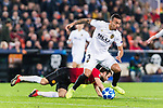 Juan Mata of Manchester United (L) fights for the ball with Ruben Nunes Vezo of Valencia CF (R) during the UEFA Champions League 2018-19 match between Valencia CF and Manchester United at Estadio de Mestalla on December 12 2018 in Valencia, Spain. Photo by Maria Jose Segovia Carmona / Power Sport Images