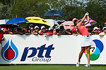 CHON BURI, THAILAND - FEBRUARY 20:  Michelle Wie of USA tees off on the 11th hole during day four of the LPGA Thailand at Siam Country Club on February 20, 2011 in Chon Buri, Thailand. Photo by Victor Fraile / The Power of Sport Images