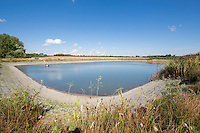 Low water level in a clay lined irrigation reservoir - Lincolnshire, September