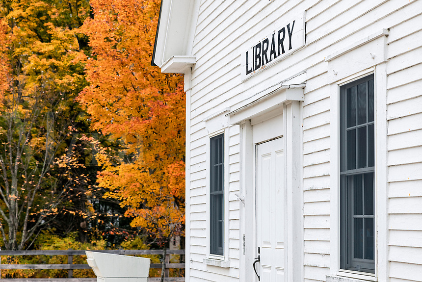 Charming New England village library.
