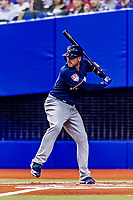 25 March 2019: Milwaukee Brewers second baseman Travis Shaw at bat during an exhibition game against the Toronto Blue Jays at Olympic Stadium in Montreal, Quebec, Canada. The Brewers defeated the Blue Jays 10-5 in the first of two MLB pre-season games in the former home of the Montreal Expos. Mandatory Credit: Ed Wolfstein Photo *** RAW (NEF) Image File Available ***