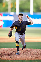 Bradenton Marauders relief pitcher Daniel Zamora (36) delivers a pitch during the first game of a doubleheader against the Tampa Yankees on April 13, 2017 at George M. Steinbrenner Field in Tampa, Florida.  Bradenton defeated Tampa 4-1.  (Mike Janes/Four Seam Images)