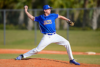 South Dakota State Jackrabbits pitcher Aaron Klatt #30 during a game against the Ohio State Buckeyes at North Charlotte Regional Park on February 23, 2013 in Port Charlotte, Florida.  Ohio State defeated South Dakota State 5-2.  (Mike Janes/Four Seam Images)