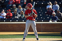 Corey Howard (16) of the Gardner-Webb Runnin' Bulldogs at bat against the Wake Forest Demon Deacons at David F. Couch Ballpark on February 18, 2018 in  Winston-Salem, North Carolina. The Demon Deacons defeated the Runnin' Bulldogs 8-4 in game one of a double-header.  (Brian Westerholt/Four Seam Images)