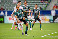 CARSON, CA - APRIL 25: Victor Vazquez #7 of the Los Angeles Galaxy moves to the bal during a game between New York Red Bulls and Los Angeles Galaxy at Dignity Health Sports Park on April 25, 2021 in Carson, California.
