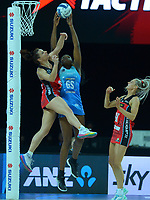 Mystics goalshoot Grace Nweke beats Karin Burger to the ball during the ANZ Premiership netball final between Northern Mystics and Mainland Tactix at Spark Arena in Auckland, New Zealand on Sunday, 8 August 2021. Photo: Dave Lintott / lintottphoto.co.nz