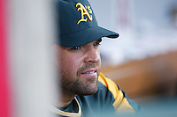 Mike Piazza of the Oakland Athletics during a game from the 2007 season at Angel Stadium in Anaheim, California. (Larry Goren/Four Seam Images)