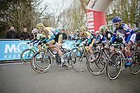 Elite women's start with Ellen Van Loy (BEL/Telenet-Fidea) outsprinting the competition<br /> <br /> Druivencross Overijse 2014