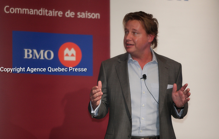 November 26, 2012, Montreal (QC) CANADA  -  Eric Boyko, President, CEO & Co-Founder of Stingray Digital, at the Canadian Club of Montreal's podium.<br /> <br /> o-founded in 2007 by Eric Boyko, Stingray Digital is the leading multi-platform music service provider in the world. With more than 75 million subscribers in 56 different countries, this Montreal company operates Galaxie, The Karaoke Channel, Music Choice Europe and Concert TV. Mr. Boyko will share his views on entrepreneurship in Canada - a subject near to his heart - and its importance to the Canadian economy. Headquartered in Montreal, Quebec, the company has 200 employees in offices across Canada and additional offices in Los Angeles and London, England.