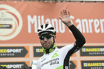 Mark Cavendish (GBR) Team Dimension Data at sign on before the start of the 109th edition of Milan-Sanremo 2018 running 294km from Milan to Sanremo, Italy. 17th March 2018.<br /> Picture: LaPresse/Spada | Cyclefile<br /> <br /> <br /> All photos usage must carry mandatory copyright credit (© Cyclefile | LaPresse/Spada)