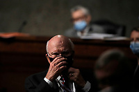United States Senator Patrick Leahy (Democrat of Vermont), listens during a US Senate Judiciary Committee business meeting to consider authorization for subpoenas relating to the Crossfire Hurricane investigation, and other matters on Capitol Hill in Washington, Thursday, June 11, 2020. <br /> Credit: Carolyn Kaster / Pool via CNP/AdMedia
