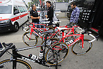 Trek Factory Racing team bikes lined up outside the team bus before the start of the 2015 96th Milan-Turin 186km race starting at San Giuliano Milanese, Italy. 1st October 2015.<br /> Picture: Eoin Clarke | Newsfile