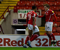 21st November 2020, Oakwell Stadium, Barnsley, Yorkshire, England; English Football League Championship Football, Barnsley FC versus Nottingham Forest; Patrick Schmidt of Barnsley celebrates with Callum Styles of Barnsley  after Styles 84th min opener