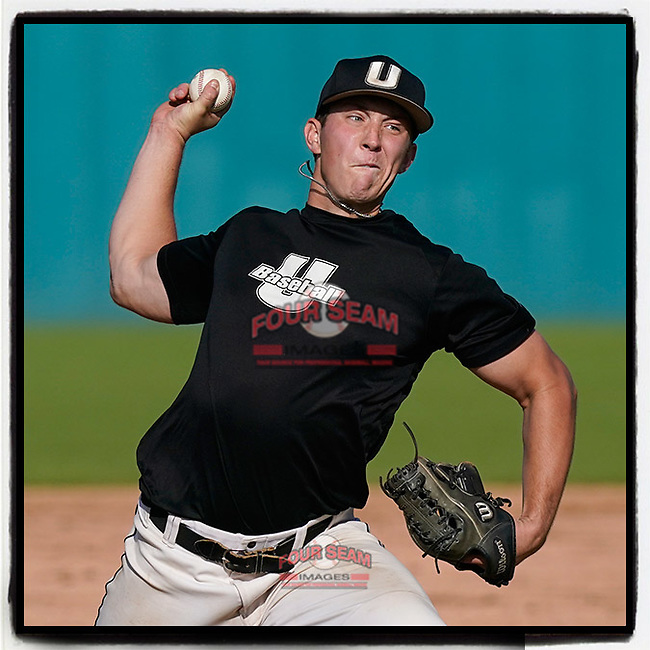Alex Garbrick (14) of the University of South Carolina Upstate Spartans Black team delivers a pitch in the Green and Black Fall World Series Game 3 on Sunday, November 1, 2020, at Cleveland S. Harley Park in Spartanburg, South Carolina. Green won, 3-2. (Tom Priddy/Four Seam Images)