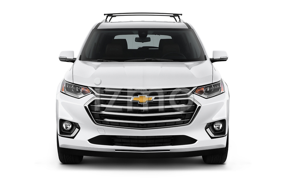 Car photography straight front view of a 2018 Chevrolet Traverse High Country 5 Door SUV