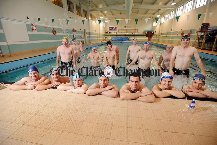 Preparing for their Long distance swim in Shannon Leisure centre.Pic Arthur Ellis.