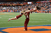 Boston College Eagles cheerleaders perform after a score during a game against the Syracuse Orange at the Carrier Dome on November 30, 2013 in Syracuse, New York.  Syracuse defeated Boston College 34-31.  (Copyright Mike Janes Photography)