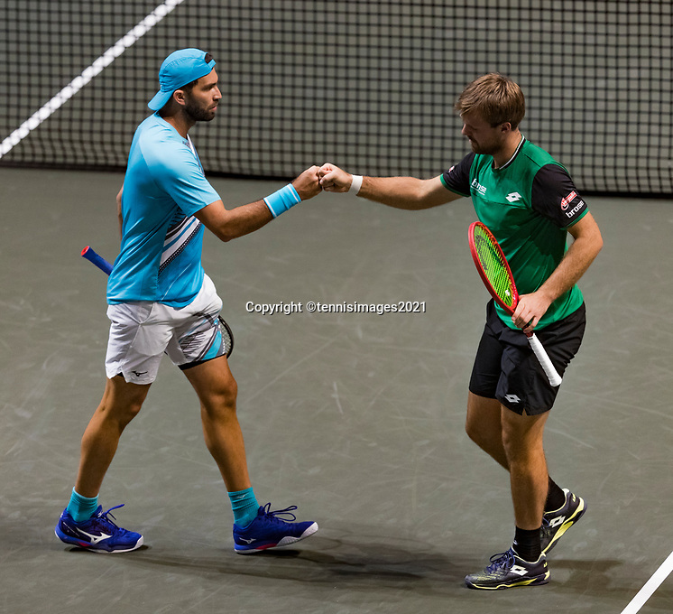 Rotterdam, The Netherlands,7 march  2021, ABNAMRO World Tennis Tournament, Ahoy,  <br /> Doubles final: Kevin Krawietz (GER) / Horia Tecau (ROU).<br /> Photo: www.tennisimages.com/henkkoster