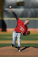 Gardner-Webb Runnin' Bulldogs relief pitcher Jordan Hampton (33) delivers a pitch to the plate against the Wake Forest Demon Deacons at David F. Couch Ballpark on February 18, 2018 in  Winston-Salem, North Carolina. The Demon Deacons defeated the Runnin' Bulldogs 8-4 in game one of a double-header.  (Brian Westerholt/Four Seam Images)