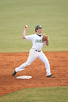 Charlotte 49ers second baseman TJ Nichting (1) makes a throw to first base against the Akron Zips at Hayes Stadium on February 22, 2015 in Charlotte, North Carolina.  The Zips defeated the 49ers 5-4.  (Brian Westerholt/Four Seam Images)