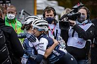 Elizabeth Deignan (GBR/Trek-Segafredo) wins the 4th Liège-Bastogne-Liège-Femmes 2020 (1.WWT) & is hugged by teammayte & 3rd finisher Ellen van Dijk (NED/Trek-Segafredo) post-finish<br /> <br /> 1 Day Race: Bastogne – Liège 135km<br /> <br /> ©kramon