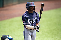Liberty Flames center fielder Jaylen Guy (1) at bat against the Duke Blue Devils in NCAA Regional play on Robert M. Lindsay Field at Lindsey Nelson Stadium on June 4, 2021, in Knoxville, Tennessee. (Danny Parker/Four Seam Images)