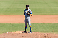 Scottsdale Scorpions relief pitcher Stephen Nogosek (29), of the New York Mets organization, looks in for the sign during an Arizona Fall League game against the Peoria Javelinas at Peoria Sports Complex on October 18, 2018 in Peoria, Arizona. Scottsdale defeated Peoria 8-0. (Zachary Lucy/Four Seam Images)