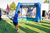SAN JOSE, CA - SEPTEMBER 4: San Jose Earthquakes fan before a game between Colorado Rapids and San Jose Earthquakes at PayPal Park on September 4, 2021 in San Jose, California.