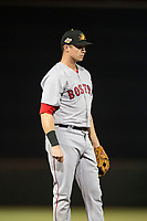 Mesa Solar Sox third baseman Bobby Dalbec (11), of the Boston Red Sox organization, during an Arizona Fall League game against the Scottsdale Scorpions on October 9, 2018 at Scottsdale Stadium in Scottsdale, Arizona. The Solar Sox defeated the Scorpions 4-3. (Zachary Lucy/Four Seam Images)