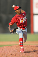 Relief pitcher Samuel Freeman (15) of the Johnson City Cardinals in action at Dan Daniels Park in Danville, VA, Sunday July 27, 2008.