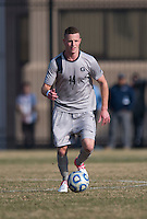 Cole Seiler (14) of Georgetown brings the ball upfield during the game at North Kehoe Field in Washington, DC.  Georgetown defeated San Diego, 3-1.