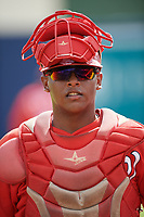 GCL Nationals catcher Israel Pineda (20) before the first game of a doubleheader against the GCL Mets on July 22, 2017 at The Ballpark of the Palm Beaches in Palm Beach, Florida.  GCL Mets defeated the GCL Nationals 1-0 in a seven inning game that originally started on July 17th.  (Mike Janes/Four Seam Images)