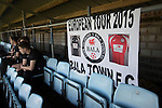Bala Town 3 FC Differdange 4, 03/08/2015. Belle Vue, Europa League. A group of home fans with a banner watching the first-half action before the Europa League first qualifying round, second leg tie between Bala Town from Wales and FC Differdange 03 of Luxembourg. It was the Welsh club's second season of European competition, and due to ground regulations the match was played at nearby Belle Vue, home of Rhyl FC. The visitors won the tie 4-3 on aggregate due to a last-minute away goal by Omar Er Rafik, in a game watched by 1039 fans and progressed to play Turkish giants Trabzonspor in the next round. Photo by Colin McPherson.