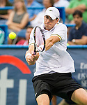 John Isner (USA) defeats Dmitry Tursunov (RUS) 6-7(7), 6-3, 6-4 in the Semifinals of the Citi Open in Washington, DC on August 3, 2013.