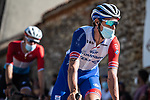 Groupama-FDJ arrive at sign on before Stage 3 of La Vuelta d'Espana 2021, running 202.8km from Santo Domingo de Silos to Picon Blanco, Spain. 16th August 2021.    <br /> Picture: Unipublic/Charly Lopez | Cyclefile<br /> <br /> All photos usage must carry mandatory copyright credit (© Cyclefile | Unipublic/Charly Lopez)