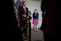 United States Senator Joni Ernst (Republican of Iowa), right, listens as  United States Senator John Barrasso (Republican of Wyoming), offers remarks and fields questions from reporters following the GOP luncheon in the Hart Senate Office Building on Capitol Hill in Washington, DC., Tuesday, September 15, 2020. <br /> Credit: Rod Lamkey / CNP /MediaPunch