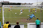 Aberystwyth Town 1 Newtown 2, 17/05/2015. Park Avenue, Europa League Play Off final. Chris Venables scores a penalty past David Jones to equalise for Aberystwyth. Aberystwyth Town finished 14 points above Newtown in the Welsh Premier League, but were beaten 1-2 in the Play Off Final. Photo by Paul Thompson.